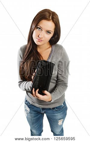 Closeup Portrait Of Pretty Cute, Young Surprised, Unhappy, Puzzled Woman, Shocked Girl Holding Empty
