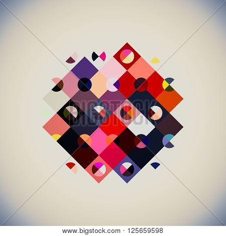 geometry abstract design, geometry shapes - triangle rectangle and circles in one composition, abstract geometry composition modern art