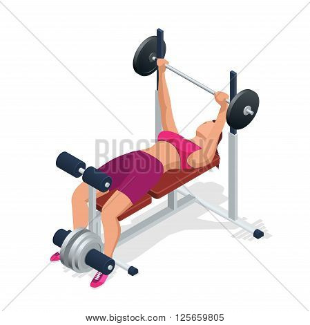 Young woman with barbell flexing muscles in gym. Gym adjustable weight bench with barbell isolated on white background. Flat 3d isometric vector illustration.
