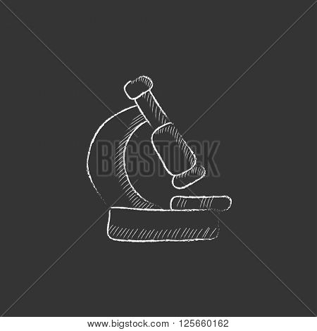 Microscope. Drawn in chalk icon.