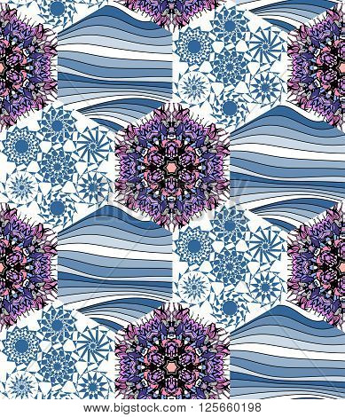 Seamless patchwork pattern. Hexagonal background. Vector illustration of quilt.