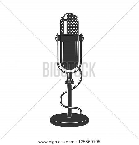 Retro monochrome microphone icon. Old microphone illustration. Vintage microphone isolated on white background.