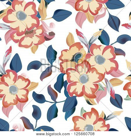 Vector seamless pattern displaying bold flowers. Elegance Seamless background with of flowers. Floral vector illustration. Beige flowers navy blue leaves on white background.