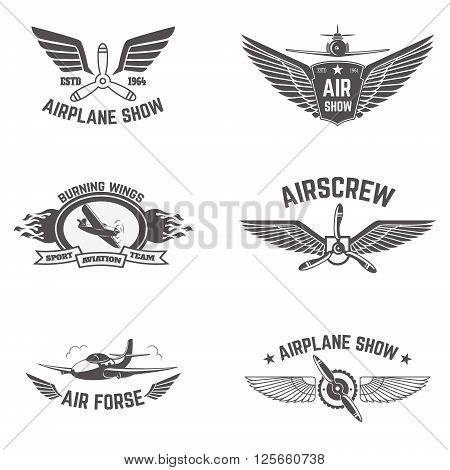 Set of airplane show labels isolated on white background. Air forse. Flying club. Design elements in vector.
