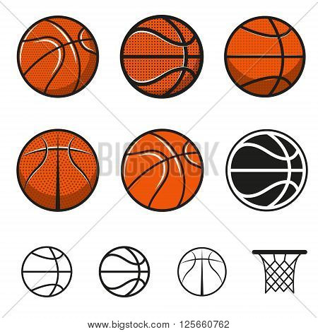 Set of basketball balls. Basketball ball icons. Basketball team emblem templates.