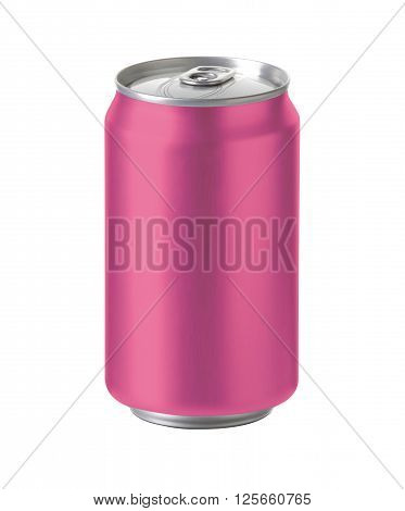 pink aluminum can with blank copy space. ideal for beer lager alcohol soft drink soda lemonade cola energy drink juice cherry etc. Realistic photo image with clip path