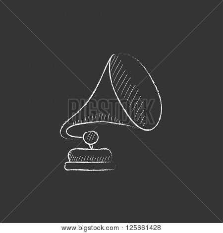Gramophone. Drawn in chalk icon.