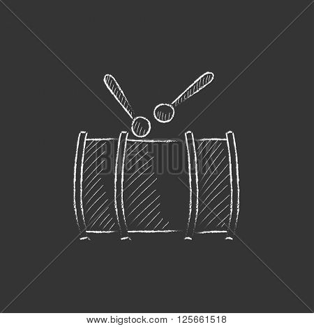 Drum with sticks. Drawn in chalk icon.
