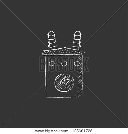 High voltage transformer. Drawn in chalk icon.