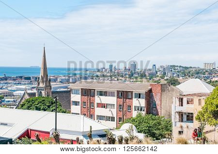 PORT ELIZABETH SOUTH AFRICA - FEBRUARY 27 2016: A view of Summerstrand in Port Elizabeth as seen from Donkin Reserve
