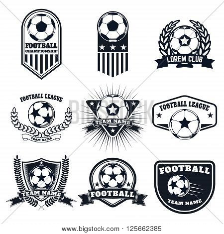 Set of the football labels emblems and design elements. Soccer team emblems.