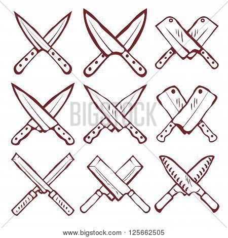 Set of crossed kitchen knives vector illustration