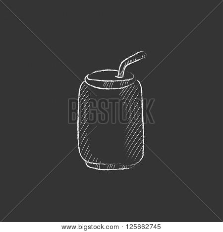 Soda can with drinking straw. Drawn in chalk icon.