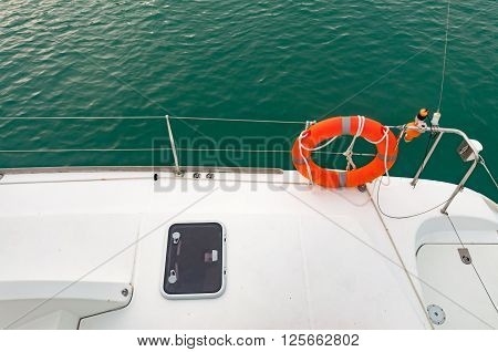 Life buoy on a yacht during cruising to the island in Phuket Thailand