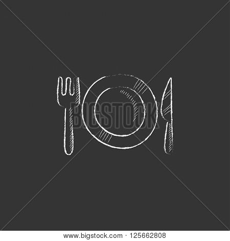 Plate with cutlery. Drawn in chalk icon.