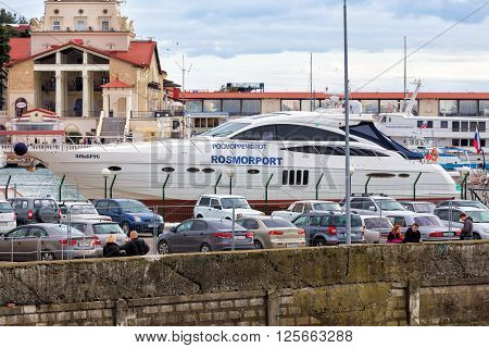 Sochi, Russia - February 8, 2016: Big yacht - Elbrus - moored in the sea port of Sochi