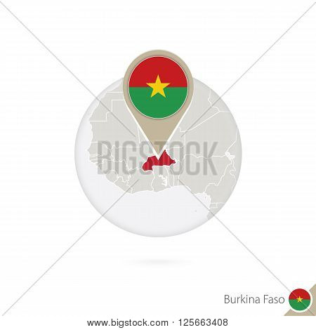 Burkina Faso Map And Flag In Circle. Map Of Burkina Faso, Burkina Faso Flag Pin. Map Of Burkina Faso