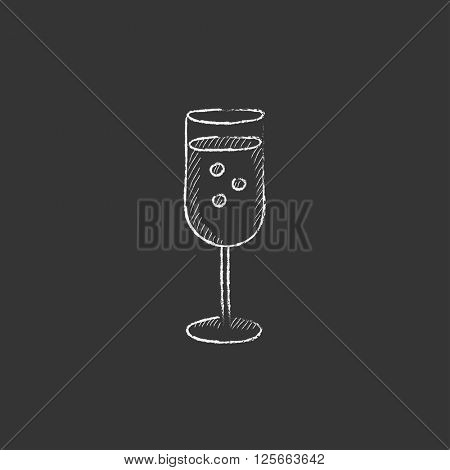 Glass of champagne. Drawn in chalk icon.