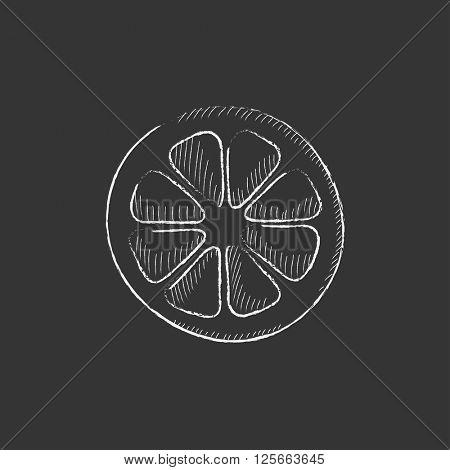 Slice of lemon. Drawn in chalk icon.