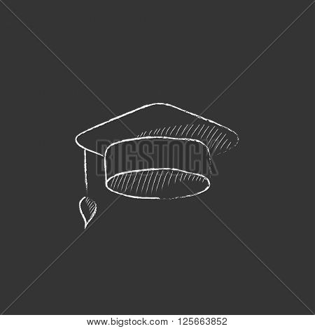 Graduation cap. Drawn in chalk icon.
