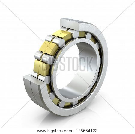 Spherical radial bearing in a cut isolated white background. 3D illustration.