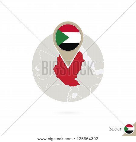 Sudan Map And Flag In Circle. Map Of Sudan, Sudan Flag Pin. Map Of Sudan In The Style Of The Globe.