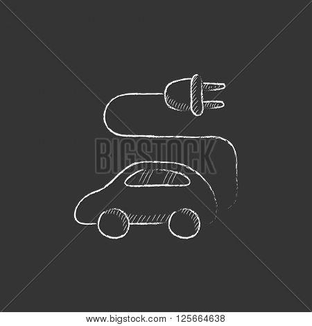 Electric car. Drawn in chalk icon.