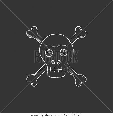 Skull and cross bones. Drawn in chalk icon.