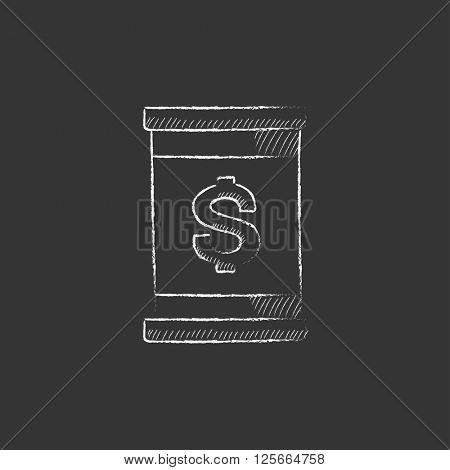 Barrel with dollar symbol. Drawn in chalk icon.
