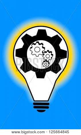 Light bulb with cogs and gears