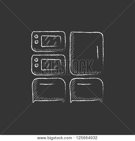 Household appliances. Drawn in chalk icon.