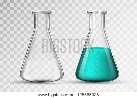 laboratory glassware or beaker of chemicals vector illustration