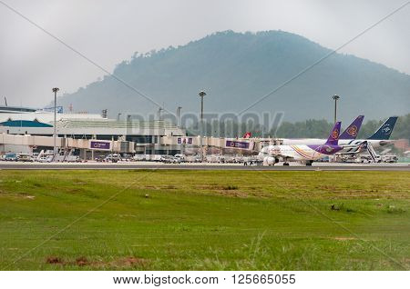 Phuket Thailand - October 4 2015: Air pollution is getting worst in Phuket but still not affect to Phuket International airport and aviation