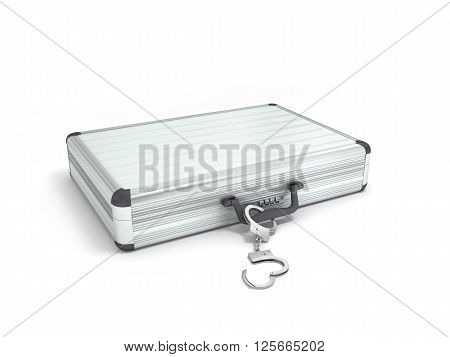 3d illustration metal case with handcuffs isolated on white background
