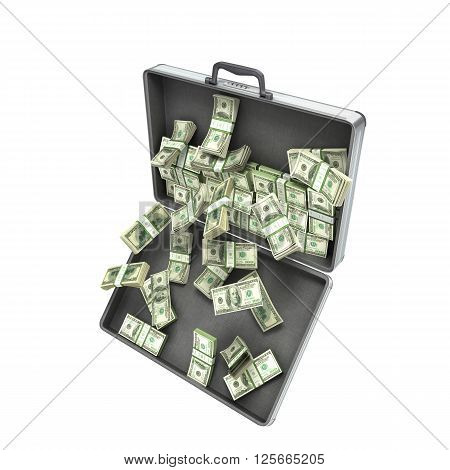 3d illustration of an open metal case with pull-down money isolated on white background