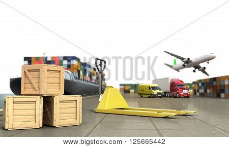 ship in the dock and freight on the dock hand truck and boxes in the foreground concept of different directions deliveries. 3d render