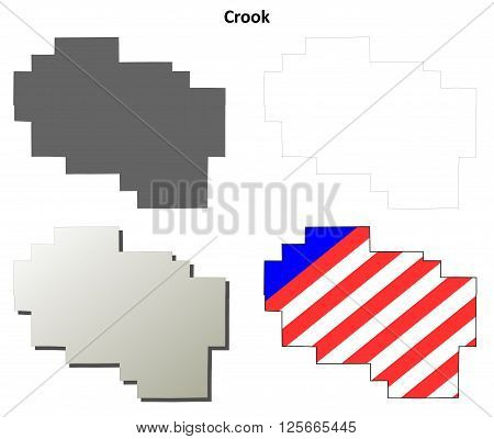 Crook County, Oregon blank outline map set