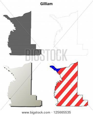 Gilliam County, Oregon blank outline map set