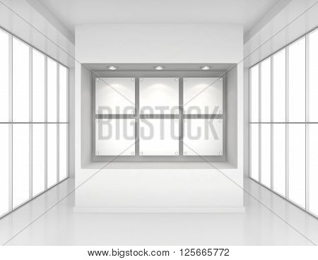 Exhibit Showcases with blank paper poster and light bulbs in interior room large windows.