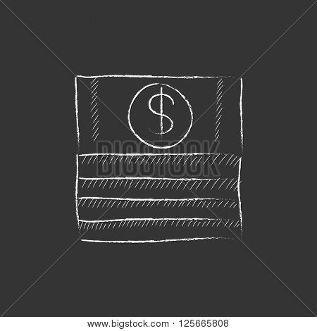 Stack of dollar bills. Drawn in chalk icon.