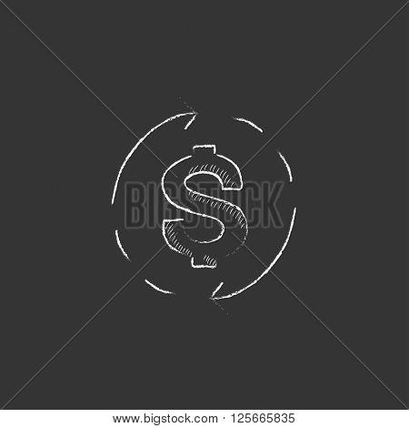Dollar symbol with arrows. Drawn in chalk icon.