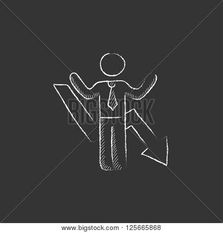 Businessman with arrow down. Drawn in chalk icon.
