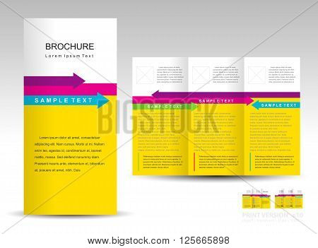 brochure design template tri-fold layout arrow colored