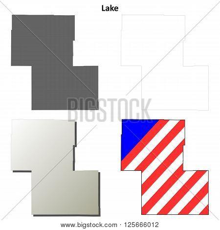 Lake County, Oregon blank outline map set