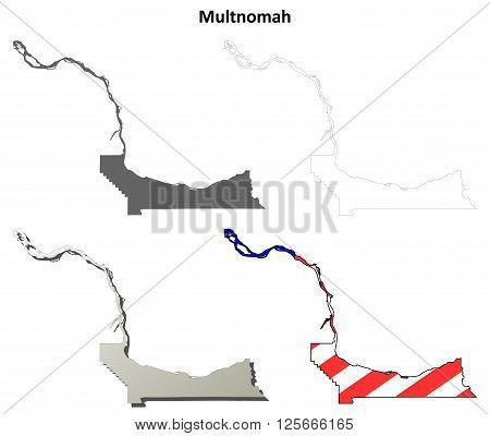 Multnomah County, Oregon blank outline map set