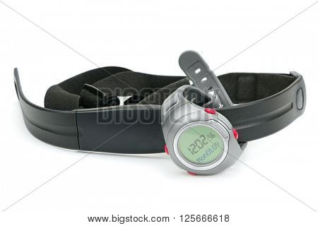 watch and chest strap of heart rate monitor isolated on white