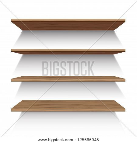 Wooden shelves isolated on a white background.