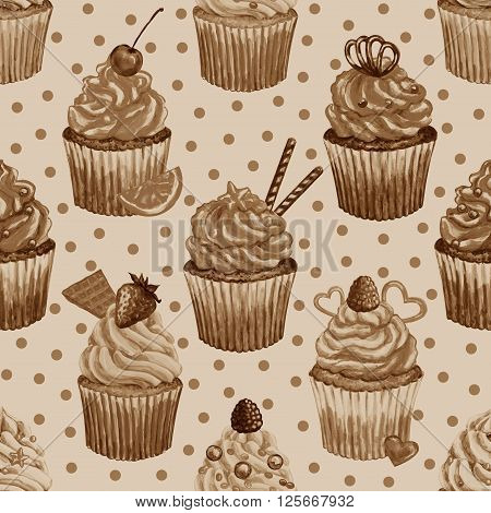 Seamless pattern with watercolor cupcakes. Texture with watercolor cupcakes different type of cupcakes. Hand drawn watercolor cupcakes with decoration cream and berries. Sweet tasty food illustration