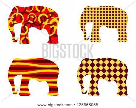 Indian Elephant Pattern. Set Of Vector Illustrations.