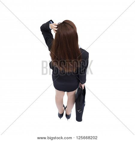 Back view of business woman look white background and carry a suitcase high angle view asian beauty